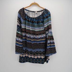 WinWin Boho Print 3/4 Bell Sleeve Tunic Top Blouse